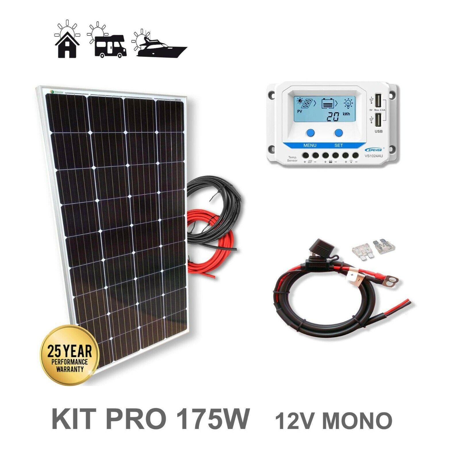 Kit 175W 12V panel solar Monocristalino. Daños en célula. Ver Imágenes.