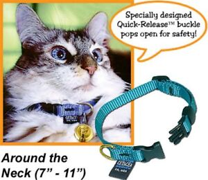 Asstd colors-PTC38CAT1 Safety Quick-Release Cat Collar without Bell by Cetacea