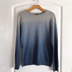 Vince-Wool-Blend-Sweater-Size-Large-Blue-Dip-Dye-Long-Sleeve-Crewneck
