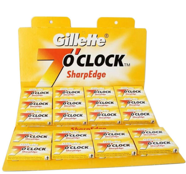 100 X Double Edge Disposable Razor Blades Gillette 7 O' Clock Sharp Edge