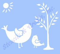 "BIRD STENCIL BIRDS TREE TEMPLATE STENCILS TEMPLATES SCRAPBOOK SUN NEW 5"" X 6"""