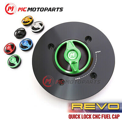MC Motoparts Engraved REVO Keyless 1//4 Quick Release Fuel Tank Cap For Grom 125 2016-2020 16 17 18 19 Green