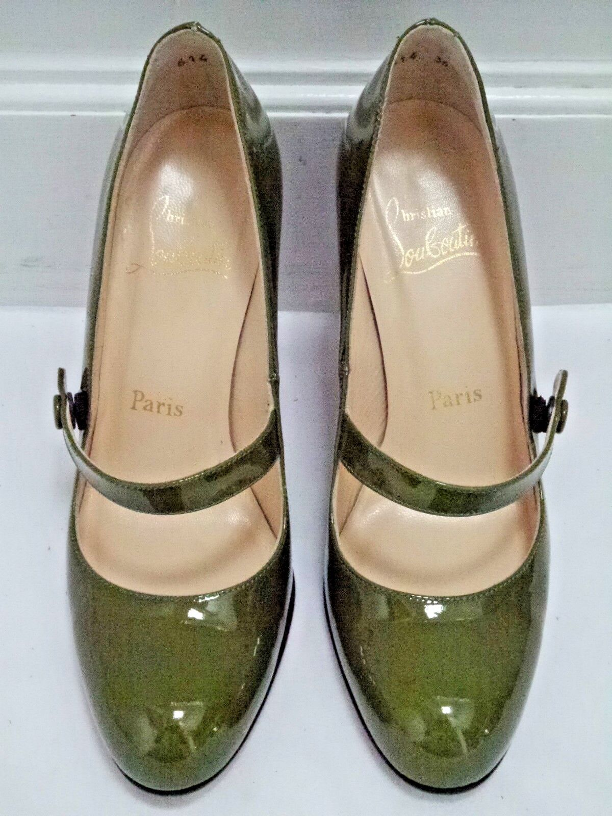 CHRISTIAN CHRISTIAN CHRISTIAN LOUBOUTIN army green patent leather Mary Jane heel pump 36.5 WORN ONCE 5afa8d