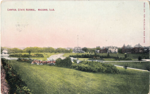 1910 Campus, State Normal, Macomb, Illinois Tinted Postcard