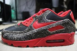 Details about NEW NIKE AIR MAX 90 NIKEiD ID SZ 9 Safari Pony Red Black Spotted