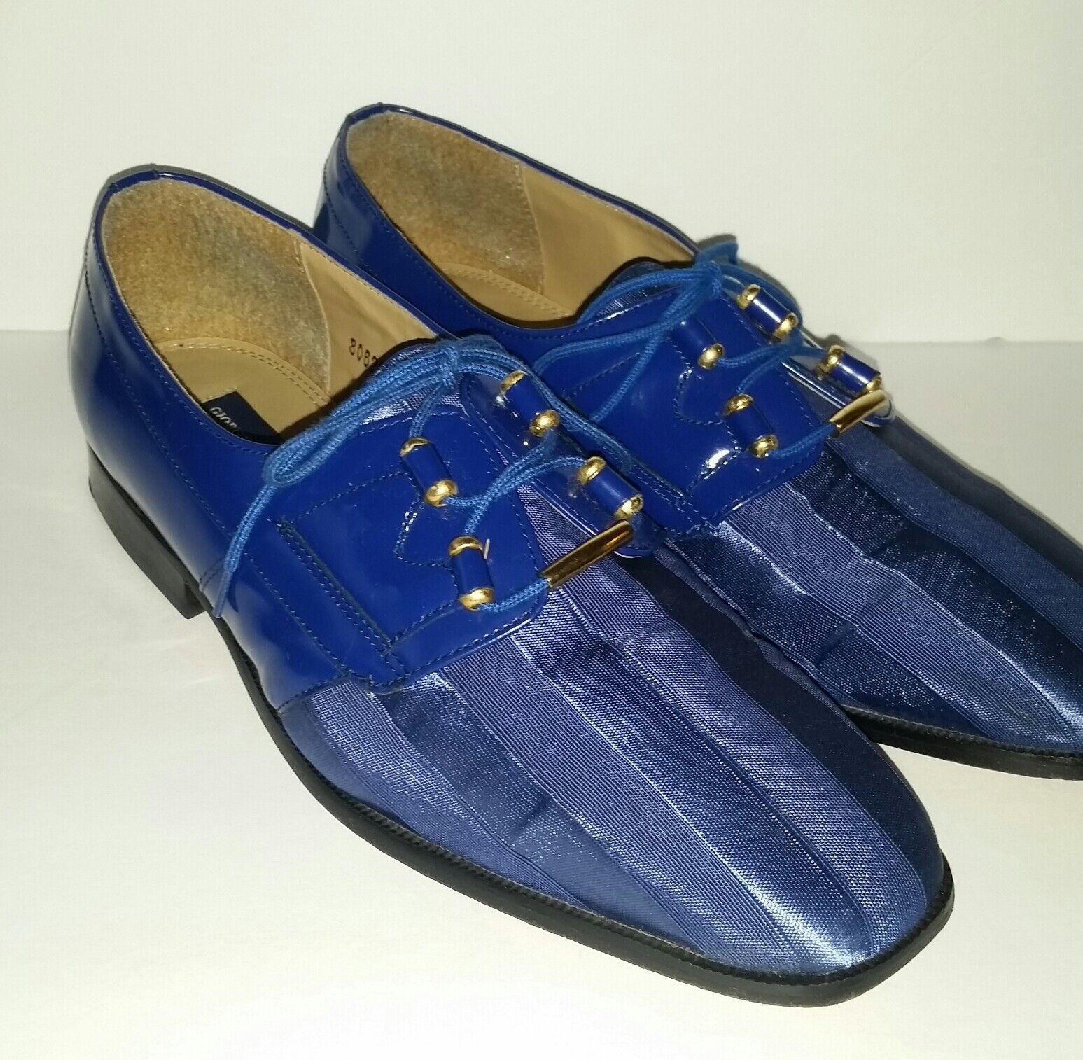 Giorgio Brutini Private Collection Striped Satin Patent Dress Oxfords Men's 9.5