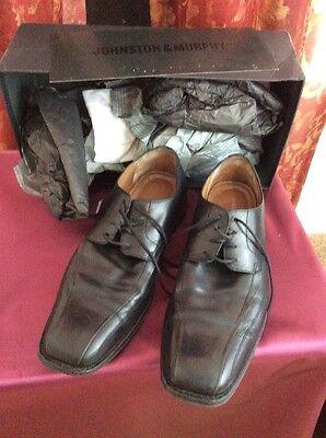 Men's JOHNSTON & MURPHY Black Leather Men's Oxford Laced Dress Shoes Size 11.5M