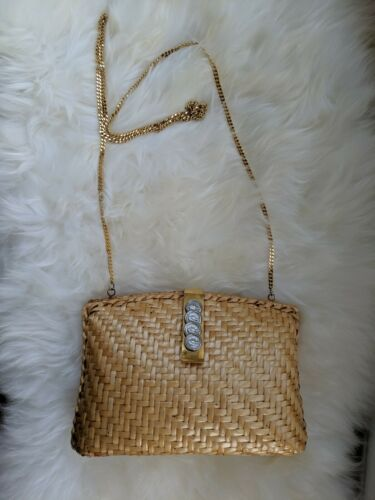 AUTH 50s lacquered straw wicker bag purse