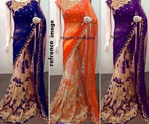 Designer-Saree-Pakistani-Bollywood-Indian-Sari-traditional-FASHION-ethnic-COLOR