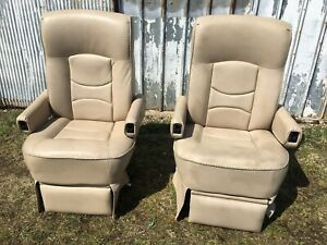 Amazing Details About Flexsteel Rv Power Captains Chairs Seats Pair Tan Motorhome Coach Used Unemploymentrelief Wooden Chair Designs For Living Room Unemploymentrelieforg
