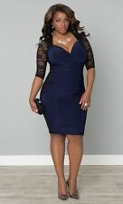 Ladies Plus Size 2XL/XXL Black Lace Blue Rauched Stretch Club Party Dress! New