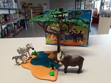 Dschungel Playmobil 4828 Safari Zebra und Kaffern Büffel an Wasserstelle Playmobil