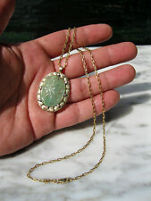 EDWARDIAN CARVED 34 CT EMERALD 14K ROSE YELLOW GREEN GOLD DIAMOND NECKLACE WOW!!