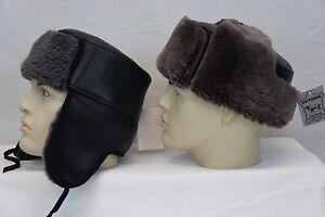 923ff4f3f NWT 100% Shearling Sheepskin Leather Trooper Trapper Russian Ushanka ...