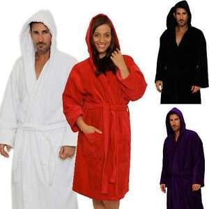 Luxury %100 Cotton Terry Velour Hooded Bathrobe Christmas Gift for Men & Women
