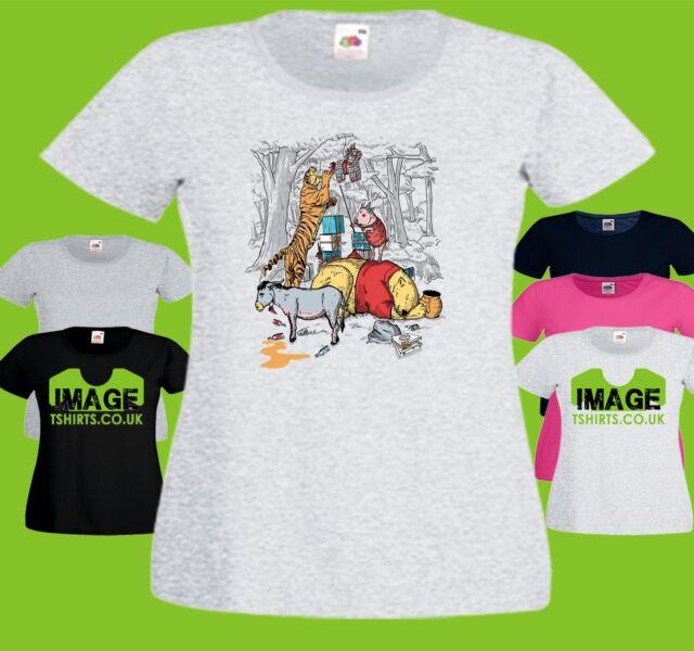 Pooh Party Ladies PRINTED T-SHIRT Cartoon Funny Winnie Tigger Eeyore Piglet