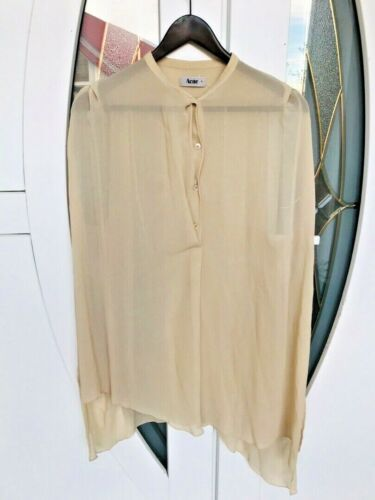 Women's ACNE Cream Silk Sleeveless Blouse size 38