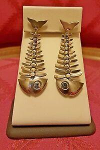 VTG-TAXCO-MEXICO-ANTONIO-PINEDA-STERLING-SILVER-FISH-BONE-EARRINGS-ARTIST-SIGNED