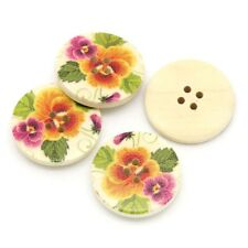 "10 Wooden Buttons  Pansy Flower design 30mm(1 1/8"") Sewing Scrapbook craft"