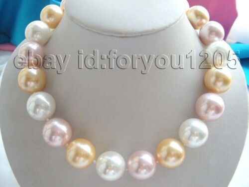 20 mm NATUREL Multicolore Ronde Shell collier de perles!