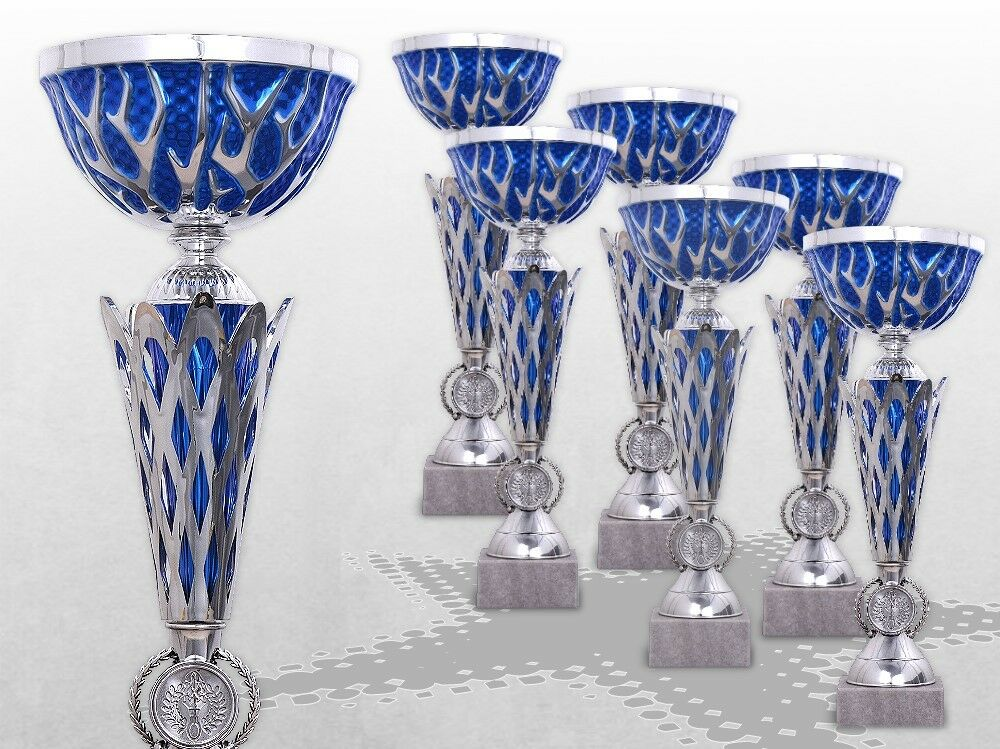 6er Pokalserie Pokale BIG Blau THUNDER mit Gravur TOP Preis Pokale silber / blau