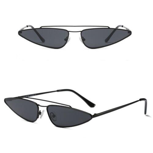 Small Cat Eye Women Sunglasses Metal Bar Flat Top Retro Vintage Shade Eyewear