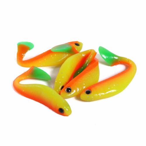 5pcs Lifelike Bass Bait Hengjia Soft Fishing Lure Artificial Bait Hook 5 Colors