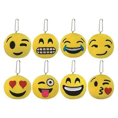 Emoticon Keyclip Embroidered Facial Expression Strong Black Clip Attach to Keys