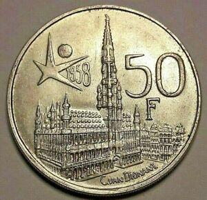 50-Francs-Belgique-1958-FR-TTB-SUP-Expo-KM-150