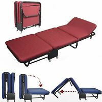35.5wide Rollaway Guest Day/night Bed With Steel Frame, Mattress, Red Cover Set