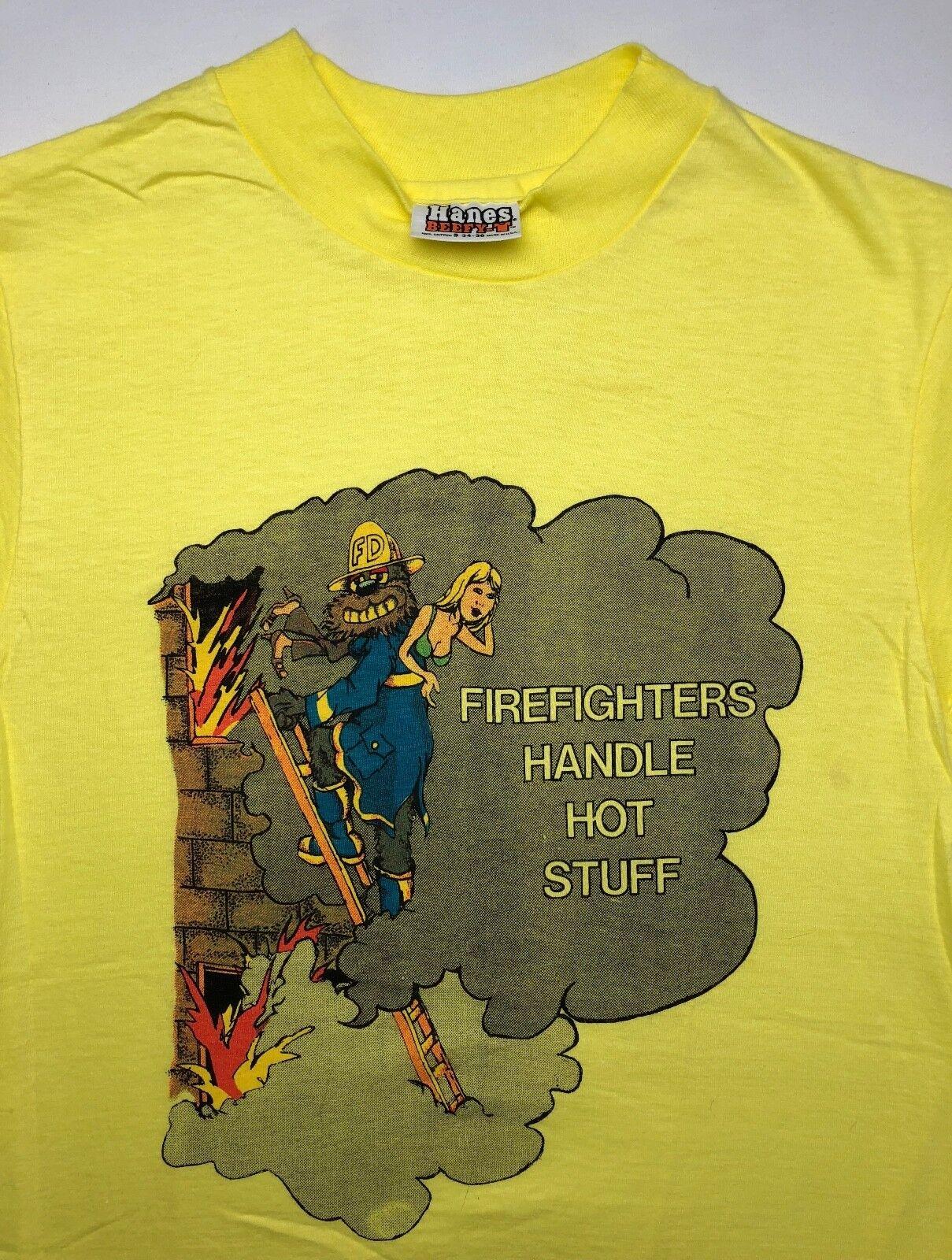 9efc93e6 Mens S 70s Hanes Firefighters Handle Stuff Neon Yellow NOS T-Shirt Vintage  Hot nihzoj2534-T-Shirts
