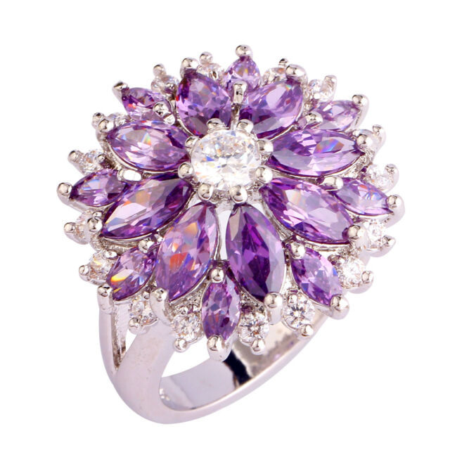 Nice Jewelry Amethyst White Topaz Gems Silver Women Ring Size 7 8 9 10 11 12 13