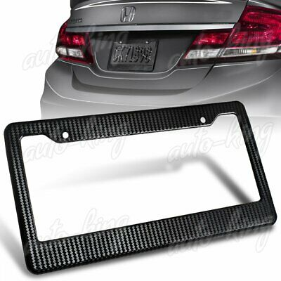 JDM 2PCS Black Carbon Look Style License Plate Holder Cover Frame Front Or Rear
