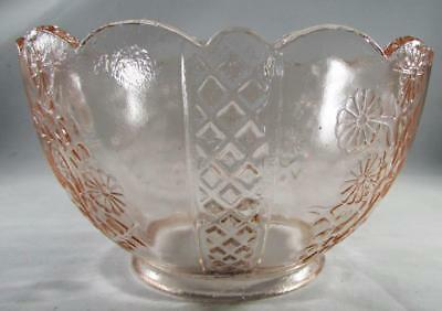 "Vintage Pink Glass Upturned Gas Oil Kerosene Lamp Shade 4/"" Fitter Floral Lattice"