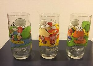 52cae49c1a Image is loading Charlie-Brown-Camp-Snoopy-McDonalds-Glasses-Complete-Set-