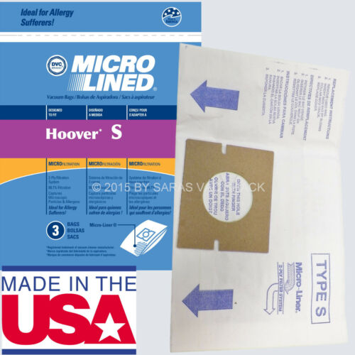 9 Hoover Type S Microlined Vacuum Cleaner Bags Futura Spectrum Windtunnel Bag