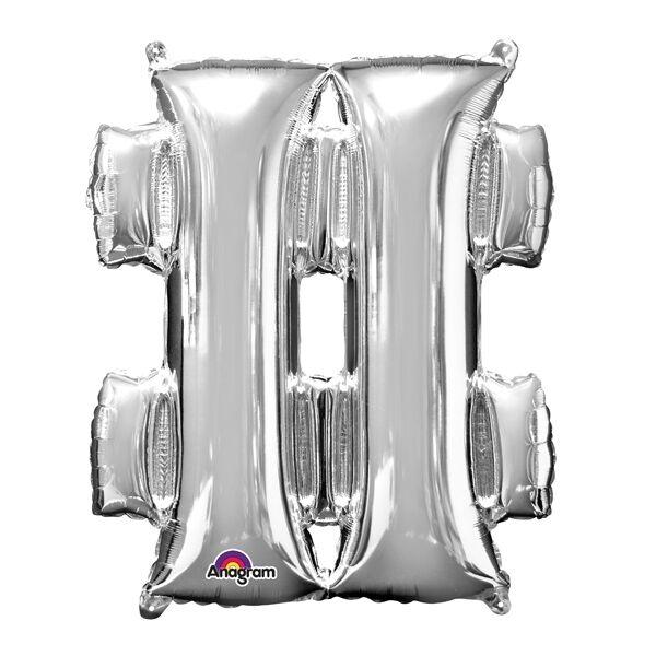 Folienballon Mini, Symbol Sonderzeichen #, 27cm x 33cm, silberfarben