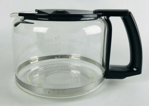 Krups 10-Cup Glass Coffee Carafe Black Curved Handle Filter Lid Replacement