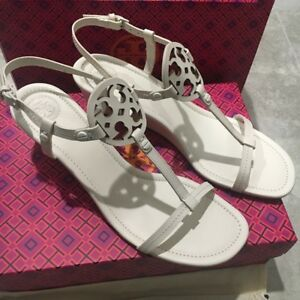 63925b4a83c7 Image is loading Tory-Burch-MILLER-WEDGE-LEATHER-SANDAL-Bleach-Size-