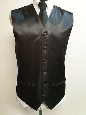 """Da Uomo L746 Nero Lucido Smart Formale Matrimonio Panciotto Suit 2 Pocket M 38""""-mostra Il Titolo Originale Elegante Nello Stile"""