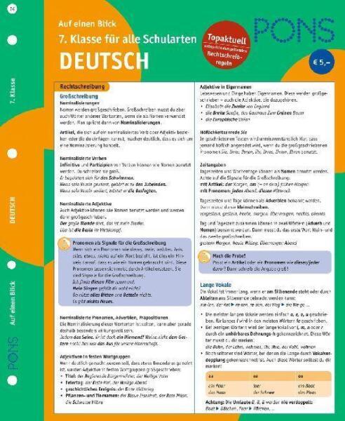 PONS Deutsch auf einen Blick 7. Klasse. RSR 2006 von Georg B ...
