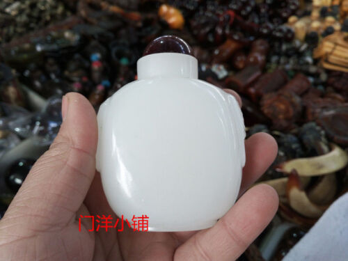 Exquisite China Hotan Jade White jade Hand-made Snuff bottle