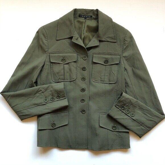 Theory Size 4 Olive Green 96% Wool Jacket Blazer FLAW