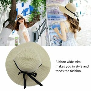 2d7c972bcb4 Fashion Summer Women Wide Brim Beach Sun Hat Straw Floppy Elegant ...