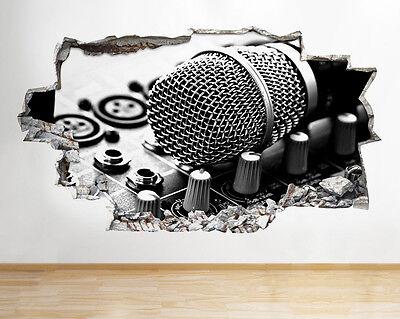 Autocollants muraux Musique Microphone chambre Cool Smashed Decal 3D Art Vinyle Pièce C242