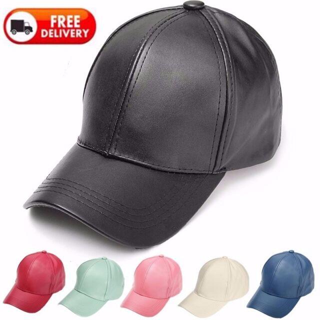 Hot Men Women Solid Leather Snapback Cap Baseball Adjustable Sport Trucker Hat