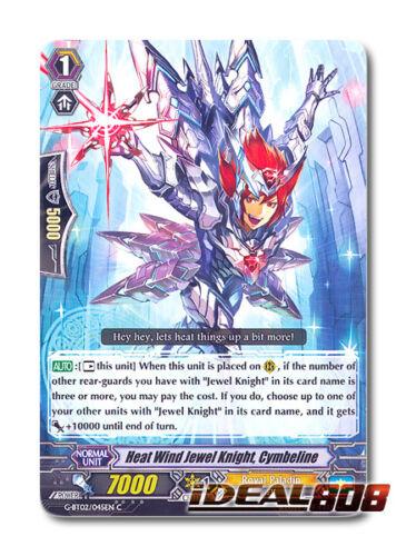 Cardfight Vanguard  x 4 Heat Wind Jewel Knight Cymbeline C Pac G-BT02//045EN
