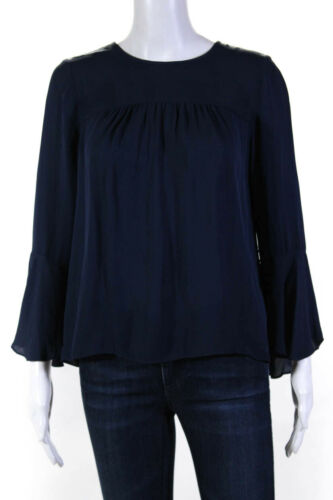 Joie Womens Silk Sheer Flared Sleeve Boat Neck Awilda B Top Blue Size S 11150673