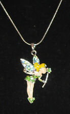 """Fairy Necklace Silver Tone Crystal Accents Wand Green Dress Shoes New 15"""""""