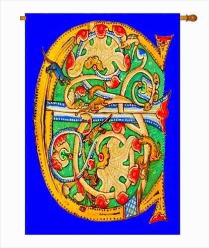 "Gothic Letter C Large Garden Flag 28/"" x 40/"" Monogram Initial House Banner"